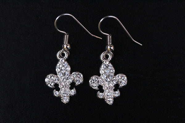 FLEUR DE LIS Clear Stone: Earrings