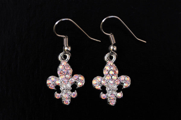 FLEUR DE LIS Light Rose AB Stone: Earrings