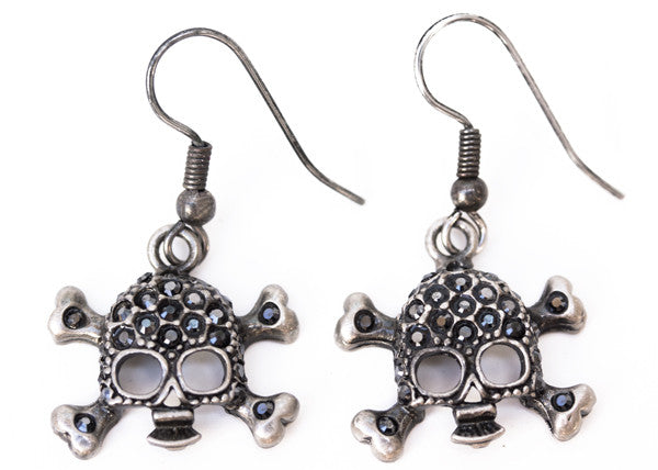 SKULL Antiqued Silver/Jet Stone: Earrings