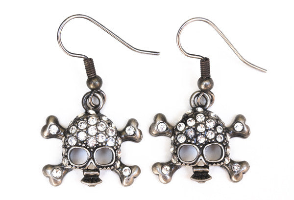 SKULL Antiqued Silver/Clear Stone: Earrings