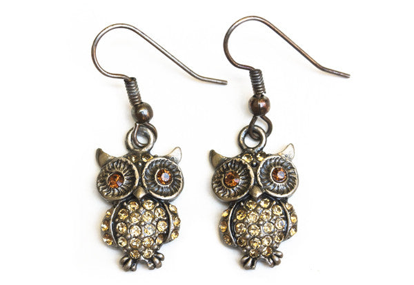 OWL Antique Silver-Light Topaz Stone: Earrings