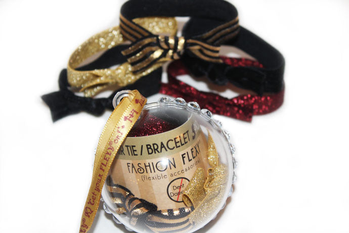LUXE: 5-Pack Hair Ties / Bracelets FLEXYs® in Bling Ball