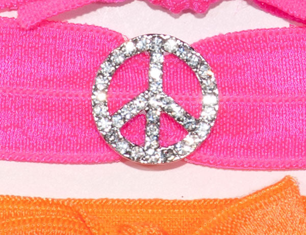 PEACE SIGN Clear Stone: Hair Tie w/ Headband 6-Paks