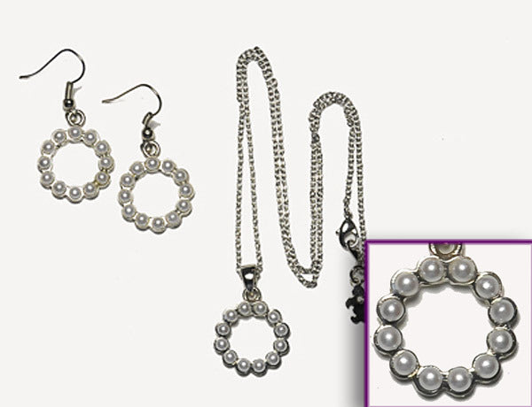 SCALLOPED CIRCLE Pearl Stone: Earrings w/Necklace Set