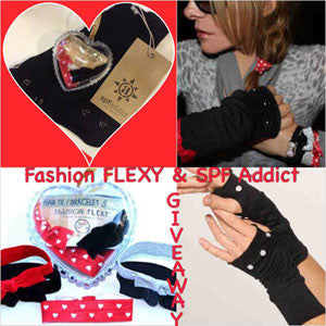FLEXY and SPF ADDICT COLLAB: LOVE Hair Ties in Bling Heart and SPF-Infused Gloves