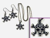 SKULL Antique Silver/Jet Stone: Earrings w/ Necklace Set