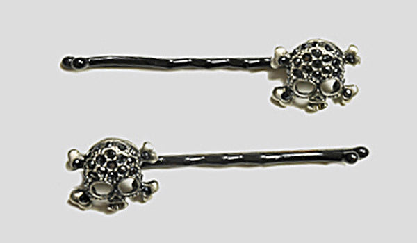 SKULL Silver Antiqued/Jet Stone: Baubled Bobbies