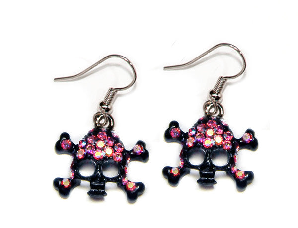 SKULL Black-Light Rose AB Stone: Earrings