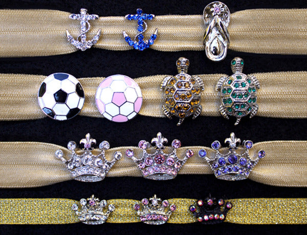 ANCHOR, FLIP FLOP, SOCCER BALL, TURTLE & CROWN Charm Sliders