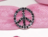 PEACE SIGN Jet Hematite Stone: Hair Tie/Bracelet Sets