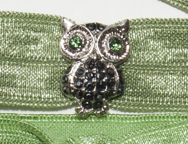 OWL Jet Hematite Stone: Hair Tie w/ Headband 6-Packs