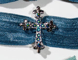 CROSS Blue Jet Stone: Hair Tie/Bracelet Sets