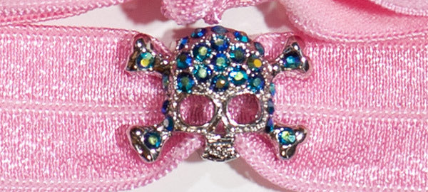 SKULL Blue Chanton Stone Charm: Headband Set