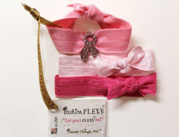 BREAST CANCER AWARE. RIBBON Light Rose: Hair Tie/Bracelet Sets