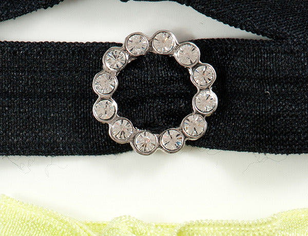 SCALLOPED CIRCLE Clear Stone: Hair Tie w/ Headband 6-Packs