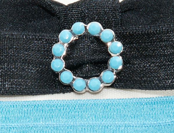 SCALLOPED CIRCLE Turquoise: Hair Tie w/ Headband 6-Packs