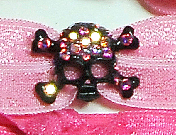 SKULL-Black Light Rose AB: Hair Tie w/ Headband 6-Paks