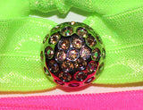 DISCO BALL Topaz AB Stone: Hair Tie w/ Headband 6-Paks