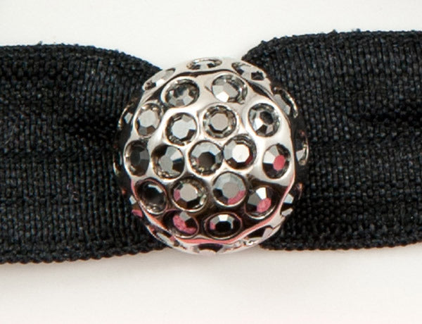 DISCO BALL Antiqued Gray/Jet Hematite: Hair Tie/Bracelet Sets