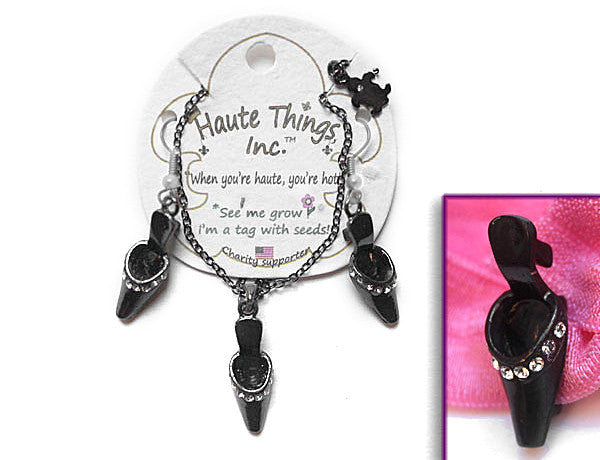 FANCY SHOE Black Pump: Earrings w/ Necklace Set