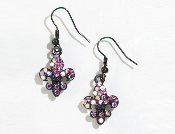 FLEUR DE LIS-Gun Metal Black/Light Rose AB Stone: Earrings