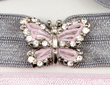 BUTTERFLY Pink/Clear Stone: Hair Tie/Bracelet Sets