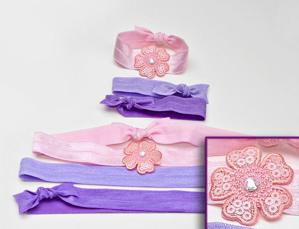 FLOWER APPLIQUE LT. PINK SEQUINS: Hair Tie & Headband Sets