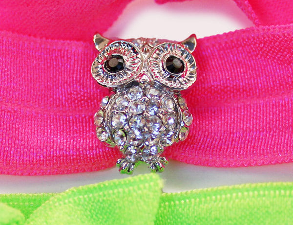 OWL Clear Stone: Hair Tie w/ Headband 6-Packs