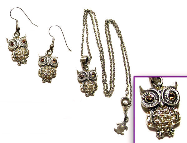 OWL Antiqued Gray-Light Topaz Stone: Earrings w/ Necklace Set