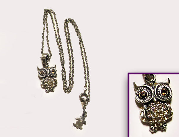 OWL Antiqued Silver-Light Topaz Stone: Necklace