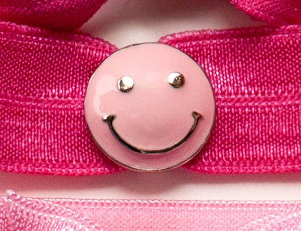 SMILEY FACE Pink: Hair Tie w/ Headband 6-Packs