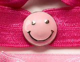 SMILEY FACE Pink: Hair Tie/Bracelet Sets