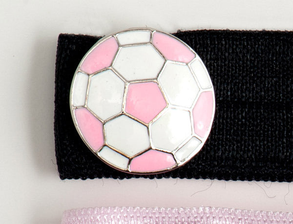 SOCCER BALL Pink/White: Hair Tie w/ Headband 6-Packs