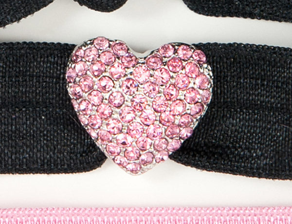 PUFFY HEART Pink Stone Charm: Hair Tie/Bracelet Set