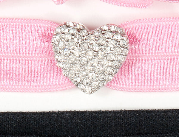 PUFFY HEART Clear Pave': Hair Tie w/ Headband 2 & 6-Paks