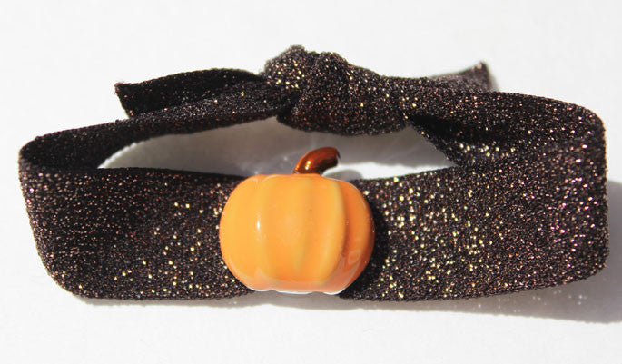 PUMPKIN: Fall Holiday Blingy Single Hair Tie or Headband FLEXYs®