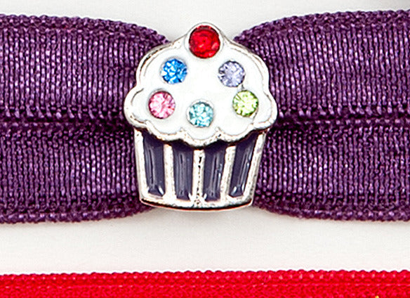 CUPCAKE Purple: Hair Tie w/ Headband 6-Packs