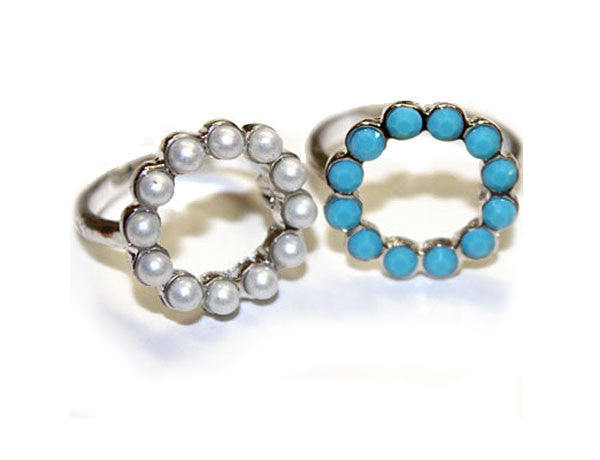 SCALLOPED: Pearl or Turquoise Rings