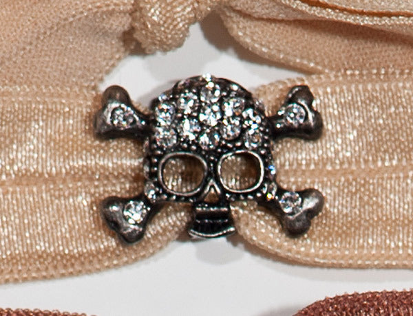 SKULL Antique Gray/Clear or Jet: Hair Tie w/ Headband 6-Pak