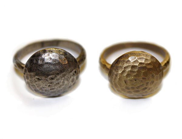 DOME STUD: Antique Silver & Gold Hammered Rings