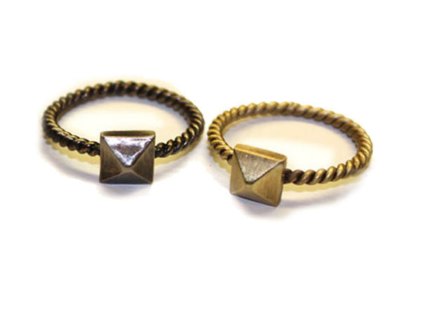 SINGLE STUD: Antique Silver & Gold Rings