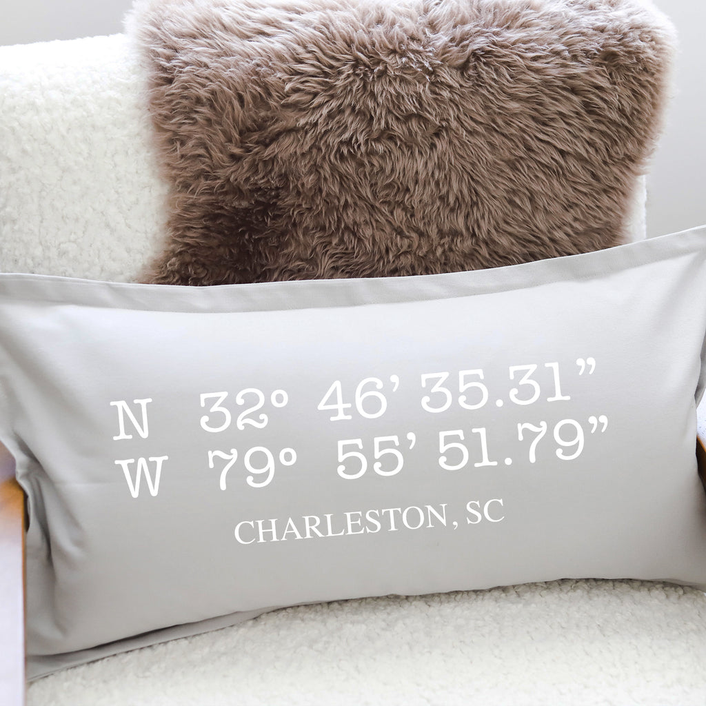 PILLOW: LATITUDE LONGITUDE (Charleston)