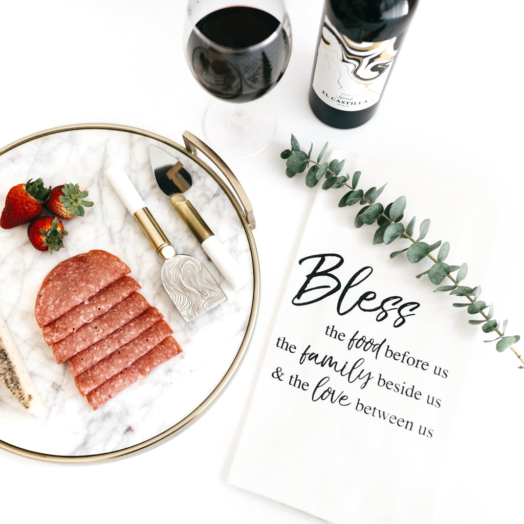 TEA TOWEL: BLESS US: FOOD FAMILY LOVE