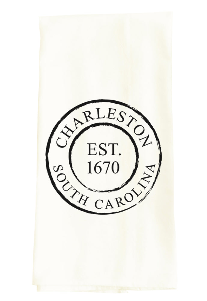 TEA TOWEL: CHARLESTON SC ESTABLISHED 1670 (CUSTOMIZE YOUR CITY)