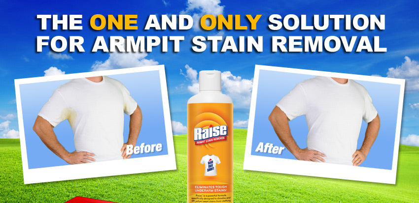 Get rid of perspiration stains raise armpit stain remover for Removing armpit stains from colored shirts