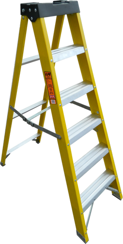 LFI PRo GRP Fibreglass 5 Tread Swingback Builders Step Ladder (K8BP05)