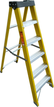 Load image into Gallery viewer, LFI PRo GRP Fibreglass 4 Tread Swingback Builders Step Ladder (K8BP04)