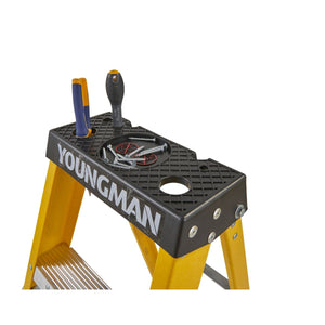 Youngman S400 Fibreglass Heavy Duty Trade Stepladder 8 Tread (52744818)
