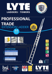 Lyte EN131-2 Professional Extension Ladder 10 Rung 3 Section (NELT330)