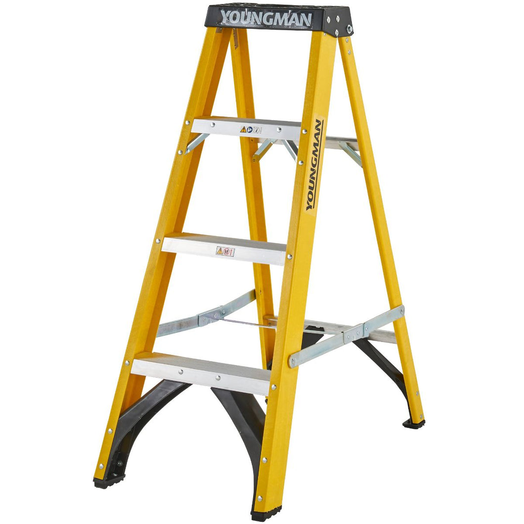Youngman S400 Fibreglass Heavy Duty Trade Stepladder 4 Tread (52744418)